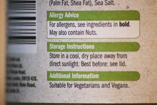 Allergy and Ingredients Label